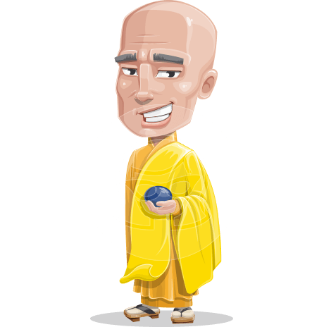 Monk Cartoon Vector Character AKA Jungney the Master
