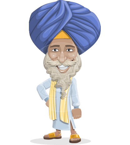Elderly Indian Man In Traditional Clothes Cartoon Vector Character AKA Ariv