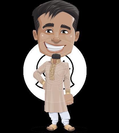 Indian Man Cartoon Vector Character AKA Sunder
