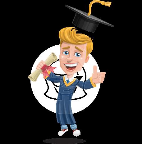 Graduate Student Cartoon Vector Character AKA Greg the Graduate Boy