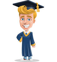 Graduate Student Cartoon Vector Character AKA Greg the Graduate Boy