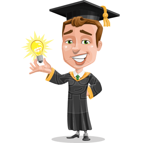 Male College Graduate Cartoon Vector Character AKA Tyler