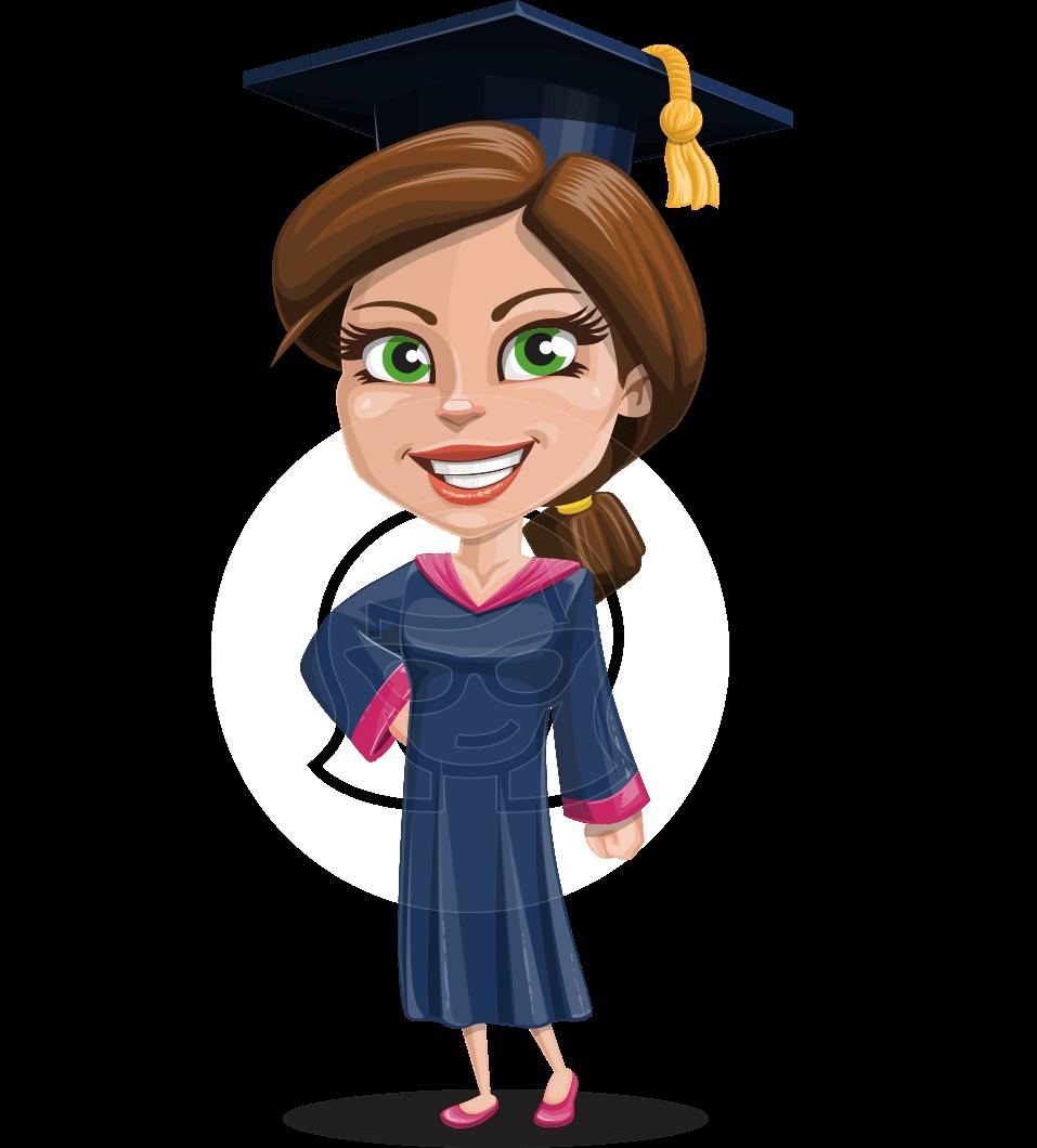 Cute Graduation Girl Cartoon Vector Character AKA Sheryl