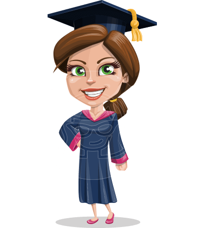 Cute Graduation Girl Cartoon Vector Character AKA Sheryl