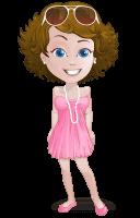 Woman in Summer Dress Cartoon Vector Character AKA Hannah