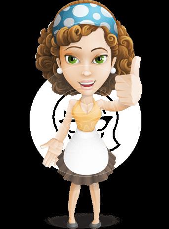 Maid Cartoon Vector Character AKA Maggie Clean-up