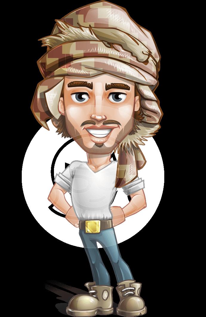 Desert Man Cartoon Vector Character AKA Sabih