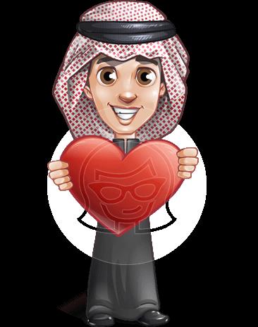 Young Muslim Man Cartoon Vector Character AKA Kadeen