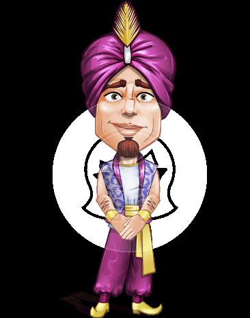 Arab Prince Cartoon Vector Character AKA Zufar
