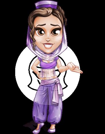 Exotic Eastern Woman Cartoon Vector Character AKA Leyla