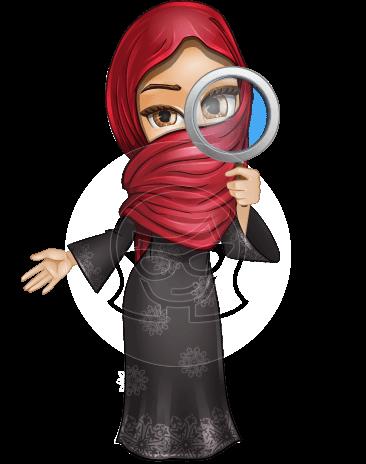 Muslim Girl with Hijab Scarf Cartoon Vector Character AKA Najla