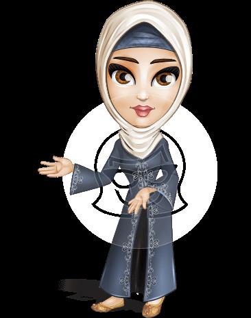 Modern Muslim Woman Cartoon Vector Character AKA Nawal