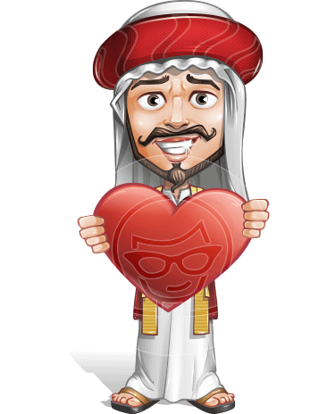 Traditional Arab Man Cartoon Vector Character AKA Saami the Sublime