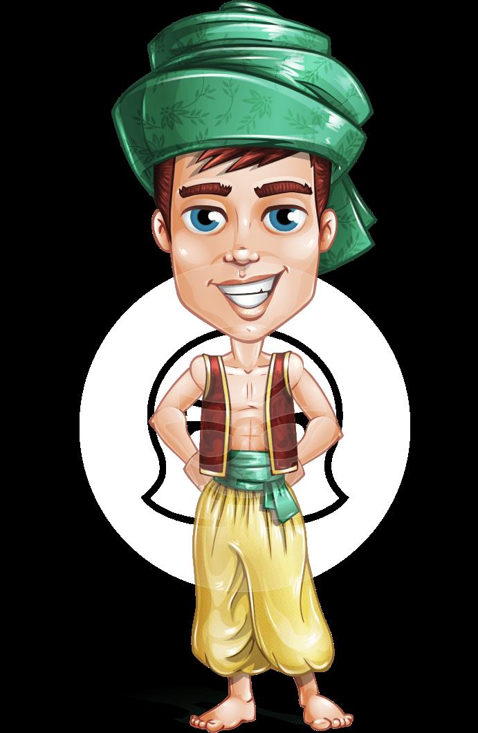 Young Arab Man with Turban Cartoon Vector Character AKA Amir