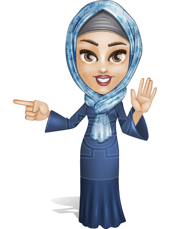 Young Islamic Woman Cartoon Vector Character AKA Jumanah