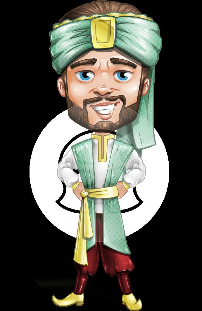 Arabian Man with Beard Cartoon Vector Character AKA Fath Victory