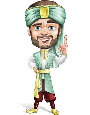 Arabian Man with Beard Cartoon Vector Character AKA Fath Victory