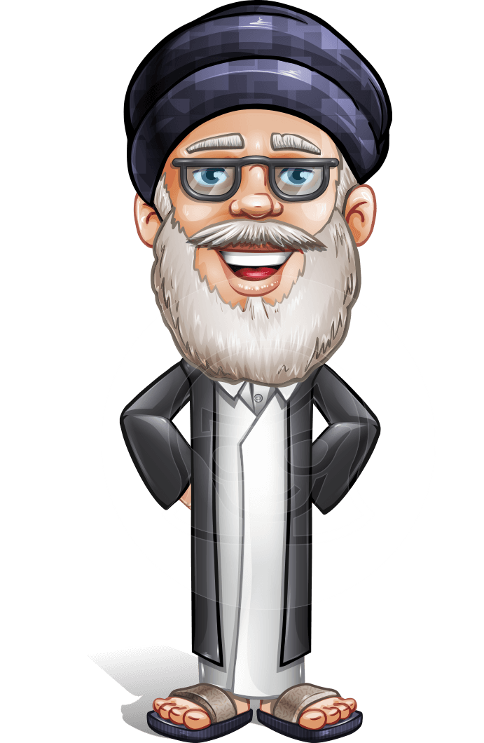 Wise Arab Man Cartoon Vector Character AKA Basir Wiseman