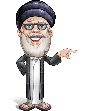 Wise Arab Man Cartoon Vector Character AKA Basir Wiseman