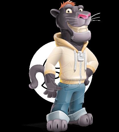 Black Panther Cartoon Vector Character