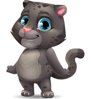 Baby Black Panther Cartoon Vector Character