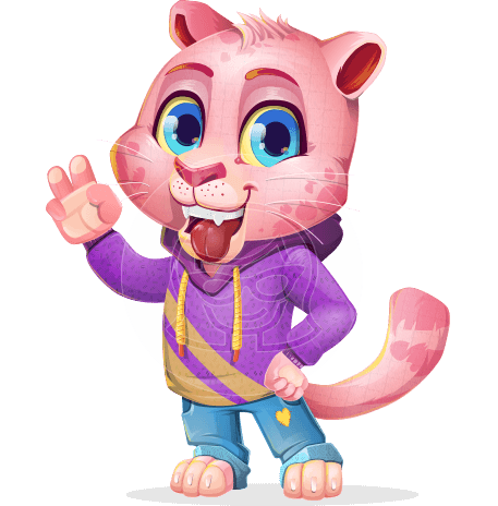 Cute Panther Cartoon Vector Character