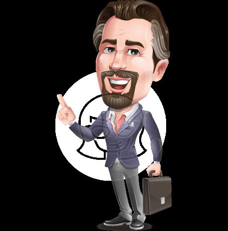 Cartoon Businessman with Goatee Beard Vector Character