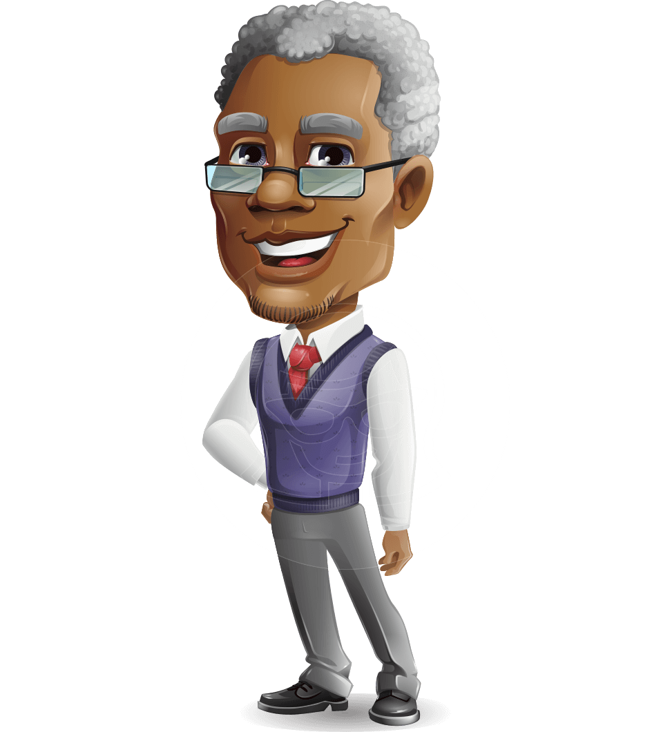 Elderly African American Man Cartoon Vector Character