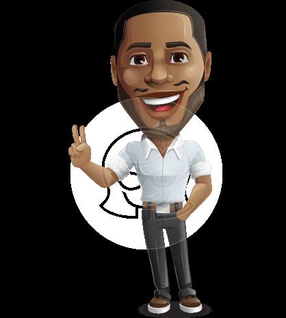 Handsome African American Man Cartoon Vector Character