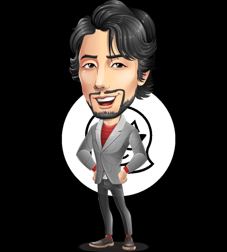 Japanese Businessman Cartoon Vector Character