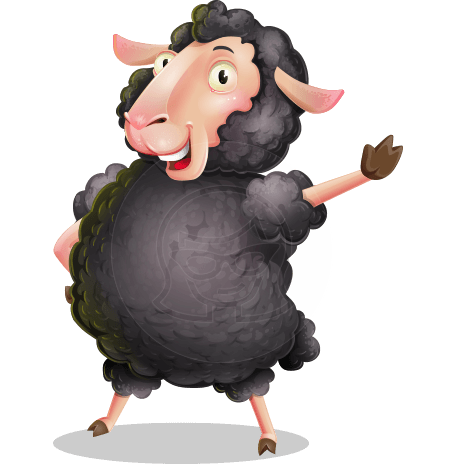 Black Sheep Cartoon Vector Character