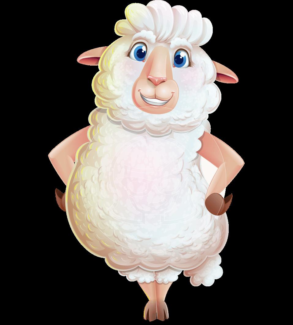 White Sheep Cartoon Vector Character