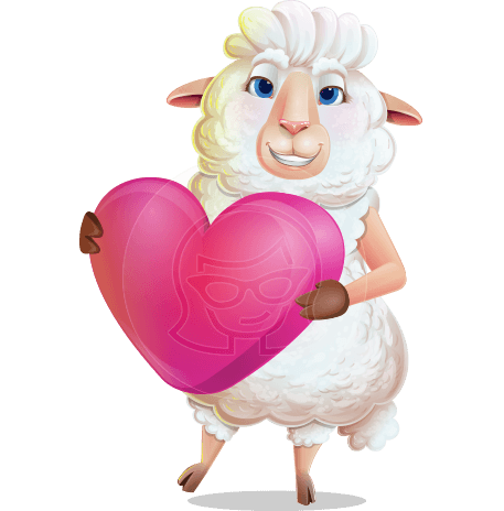 White Sheep Cartoon Vector Character