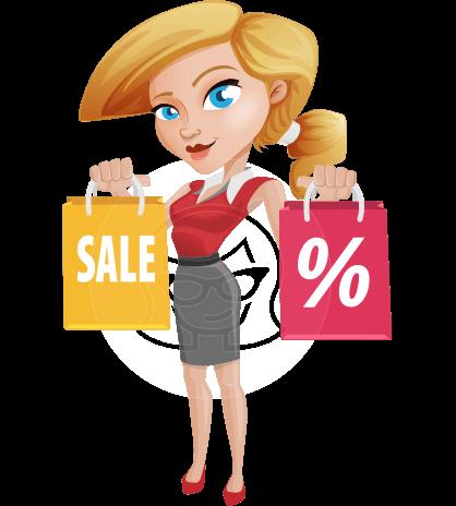 Shopping Girl Cartoon Vector Character