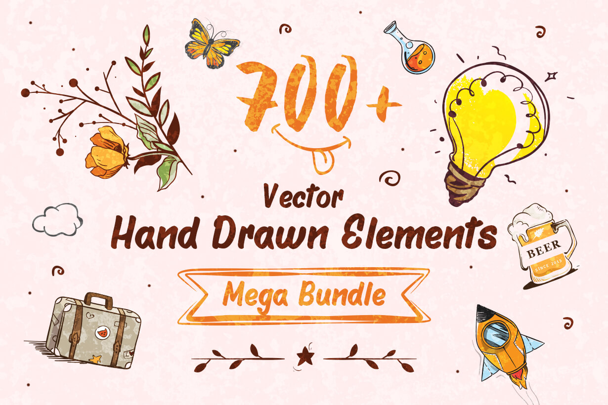 Vector Hand Drawn Elements Mega Bundle