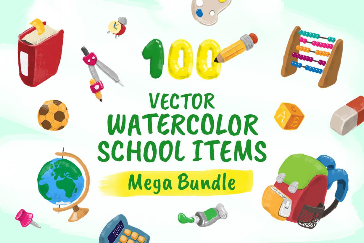 Watercolor Cartoon School Icons Bundle