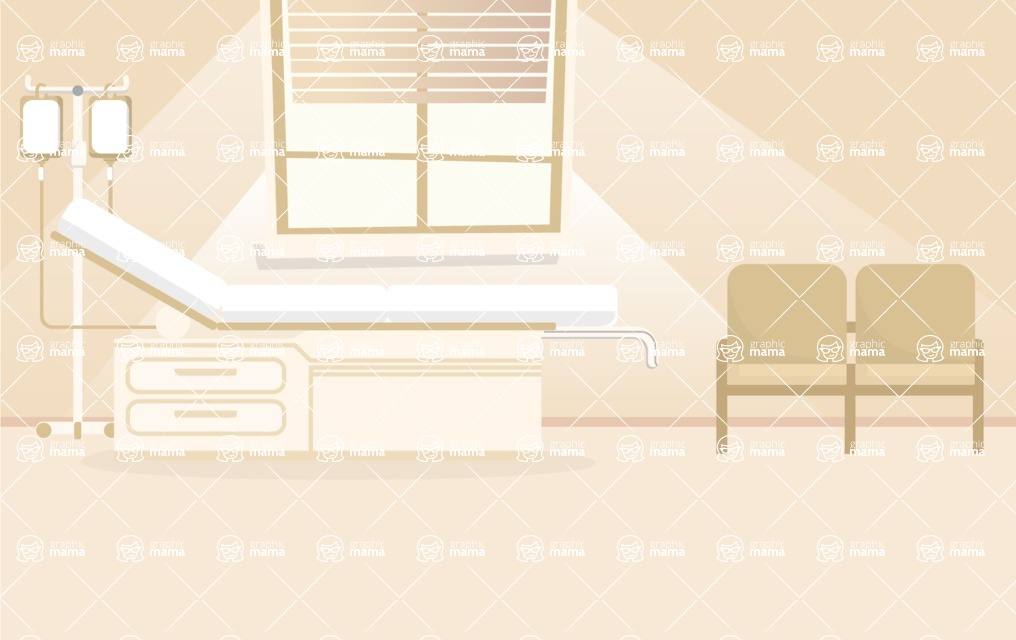 Room Backgrounds Vector Collection - Clinic Room Interior Vector Background