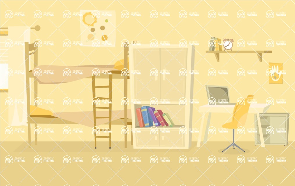Room Backgrounds Vector Collection - Child Bedroom Cartoon Vector Background