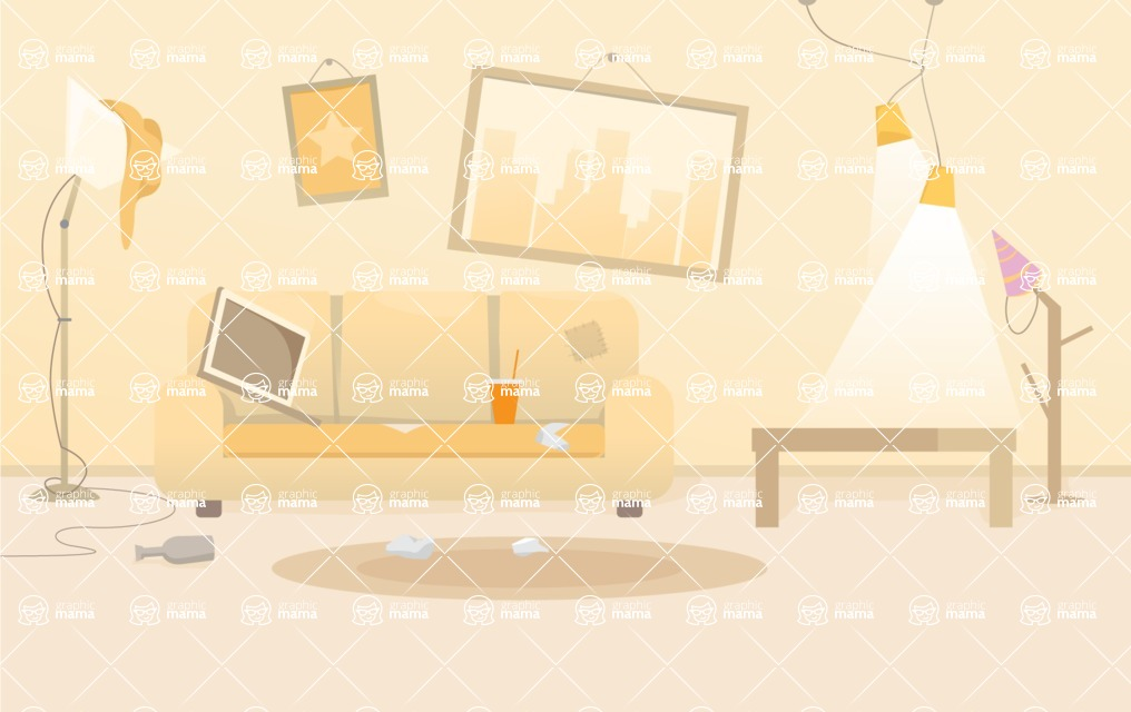 Room Backgrounds Vector Collection - Dirty Living Room Interior Vector Background