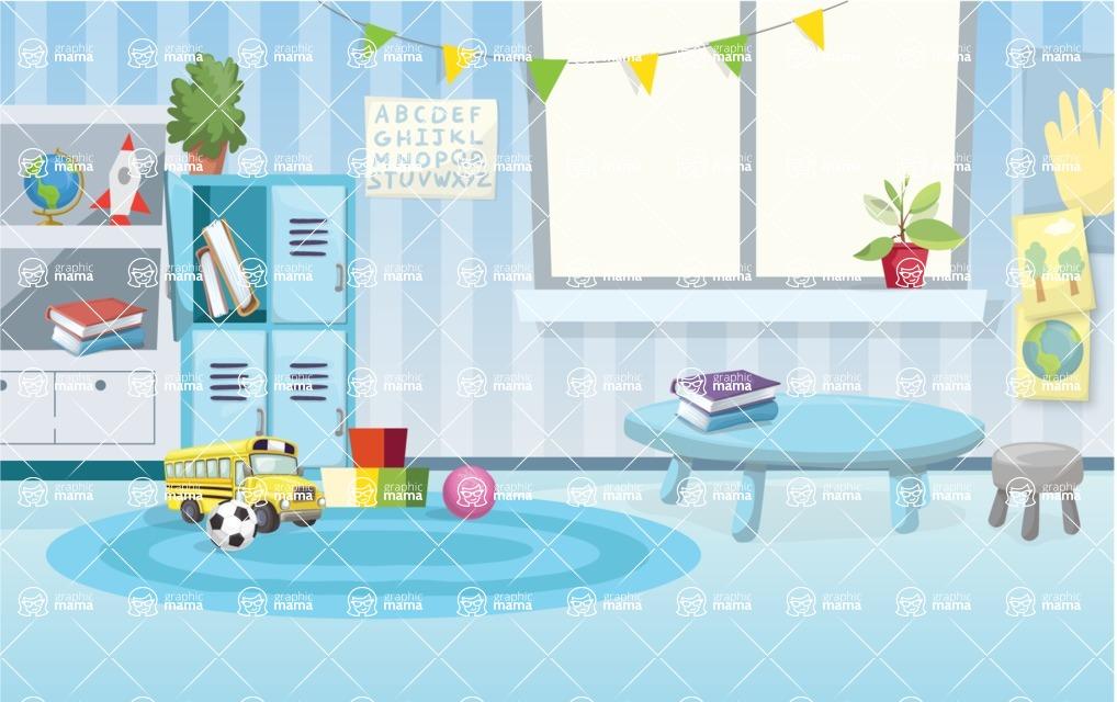 Room Backgrounds Vector Collection - Cartoon Kinder Garden Vector Background