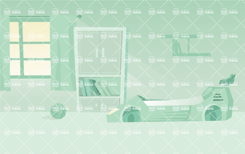 Room Backgrounds Vector Collection - Kid Boy Room Vector Background