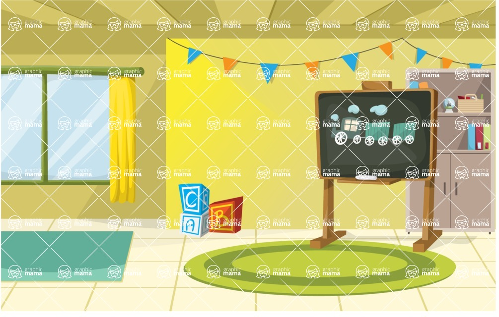 Room Backgrounds Vector Collection - Cartoon Kids Playroom Vector Illustration