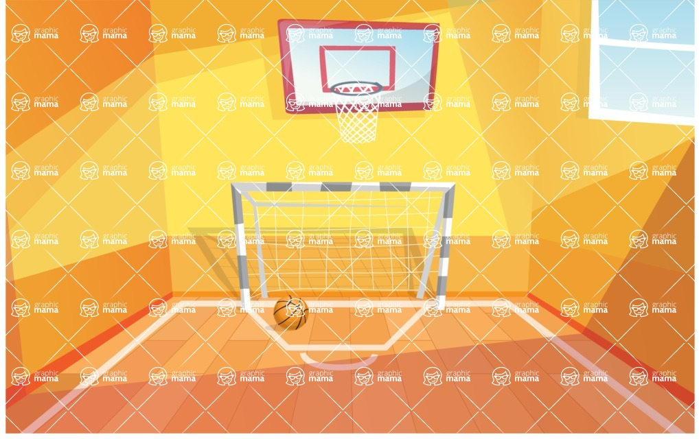 Room Backgrounds Vector Collection - School or University Gym Hall Vector Background