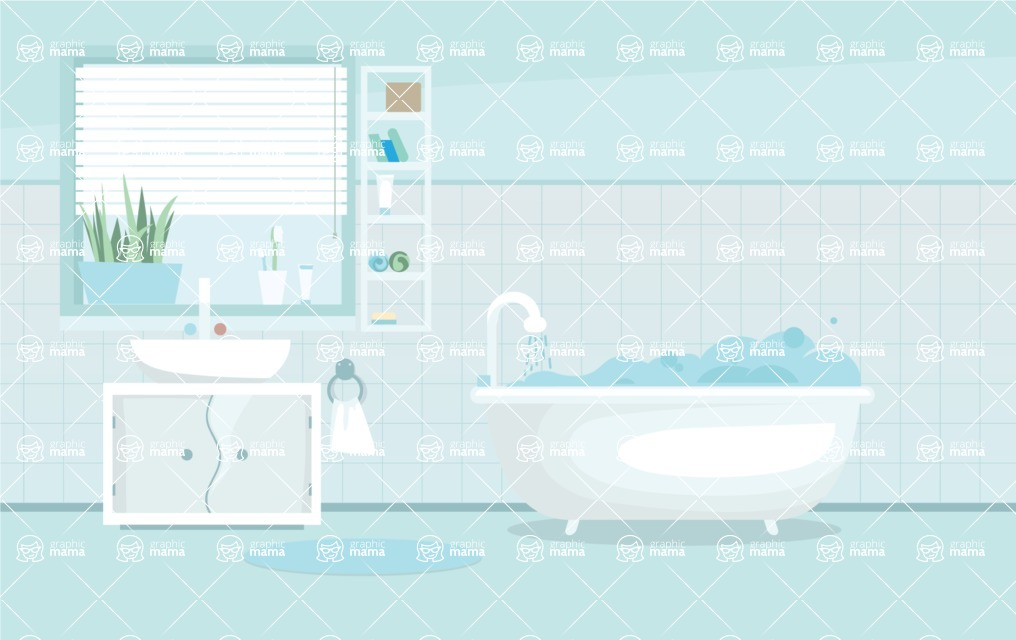 Room Backgrounds Vector Collection - Vector Bathroom Background Illustration