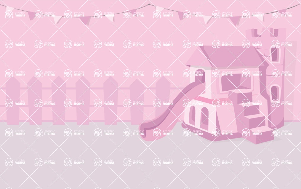 Room Backgrounds Vector Collection - Kid Girl Room Vector Background