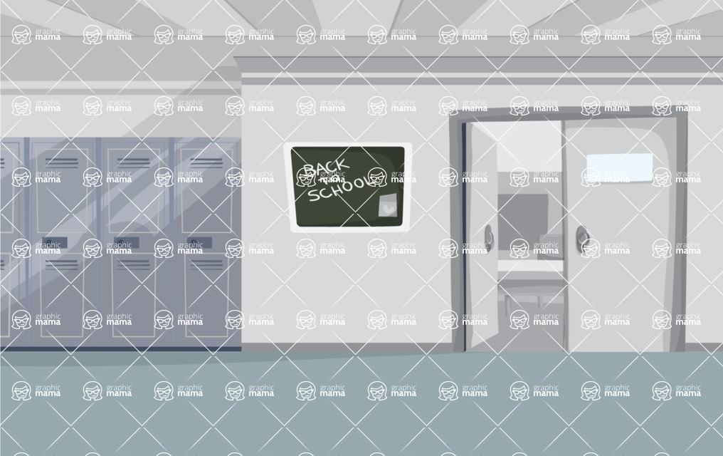 Room Backgrounds Vector Collection - Indoor School Vector Background