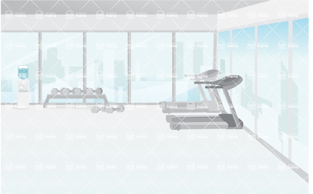 Room Backgrounds Vector Collection - Modern City Sport Gym Interior Vector Background