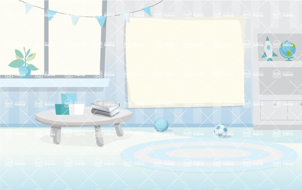 Room Backgrounds Vector Collection - Cartoon Preschool Vector Background Illustration