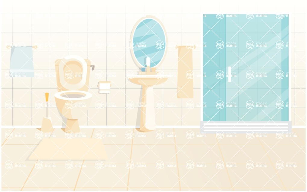 Room Backgrounds Vector Collection - Bathroom Interior Vector Background