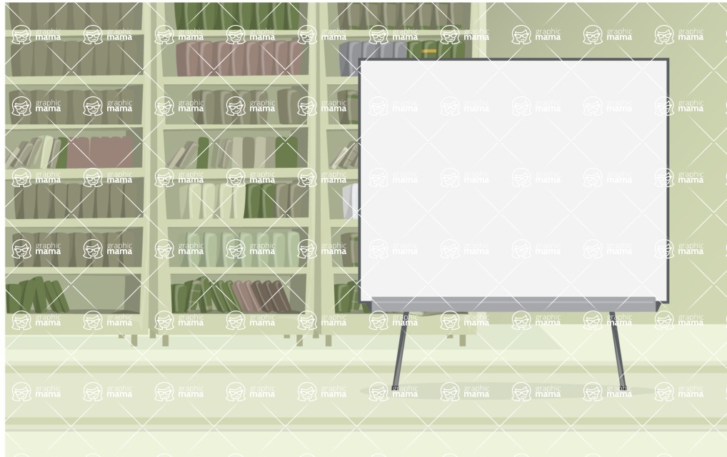 Room Backgrounds Vector Collection - Book Library With Presentation Board Vector Background